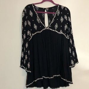 Free People Long Sleeved Embroidered Dress